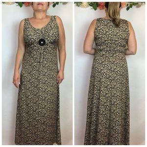 Nina Leonard Animal Print Maxi Dress Medium